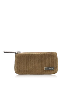 Fendi Corduroy Coin Pouch Brown
