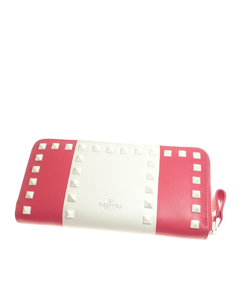 Valentino Rockstud Leather Long Wallet Pink