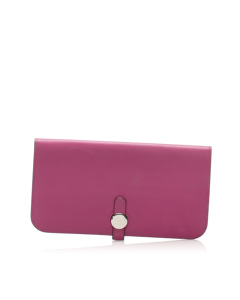 Hermes Dogon Leather Long Wallet Pink