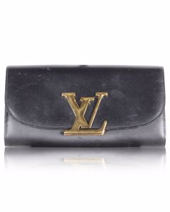 Black Louise Wallet With Lv Metal Clasp