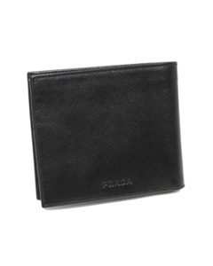 Prada Bi-fold Saffiano Leather Small Wallet Black