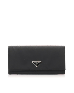 Prada Tessuto Long Wallet Black