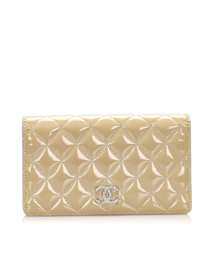 Chanel Classic Cc Patent Leather Wallet Brown