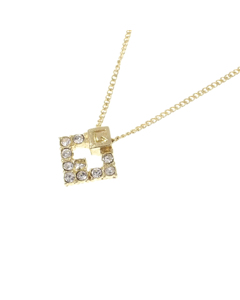 Givenchy G Logo Rhinestone Necklace Gold