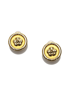 Chanel Camellia Clip-on Earrings Gold