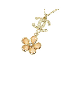 Chanel Cc Flower Necklace Gold