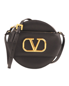 Valentino V Sling Leather Crossbody Bag Black