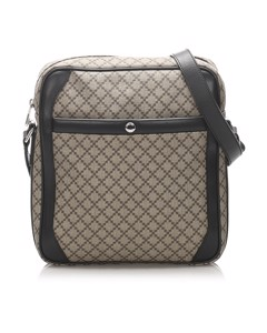 Gucci Diamante Coated Canvas Crossbody Bag Brown