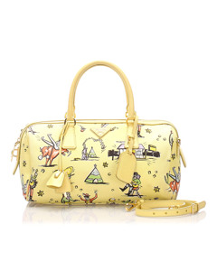 Prada Printed Canvas Satchel Yellow