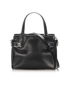 Ferragamo Gancini Leather Satchel Black