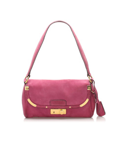 Prada Suede Shoulder Bag Purple