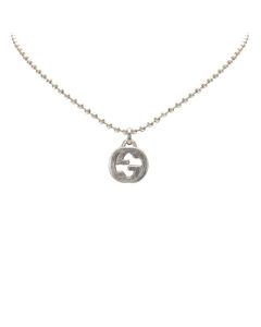Gucci Interlocking Gg Pendant Necklace Silver