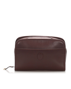 Cartier Must De Cartier Leather Clutch Bag Red