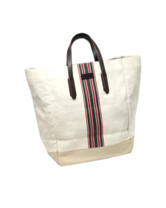 Gucci Web Canvas Tote Bag White