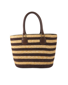 Fendi Pequin Straw Tote Bag Brown