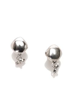 Chanel Cc Drop Earrings Silver