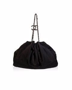 Chanel Black Satin Tote Bag Model: Melrose Cabas
