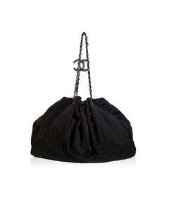 Chanel Black Satin Tote Bag Mod: Melrose Cabas