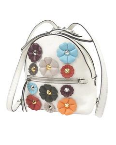 Fendi Mini By The Way Flowerland Backpack White