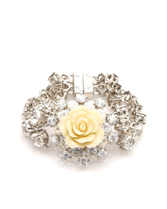 Prada Resin Rose And Crystal Link Bracelet Silver
