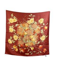 Salvatore Ferragamo Vintage Red Silk Scarf Flowers And Fruits Design