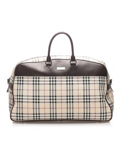 Burberry House Check Canvas Travel Bag Brown