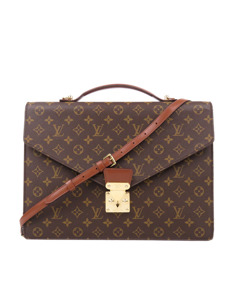 Louis Vuitton Monogram Porte Documents Bandouliere Brown