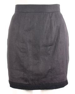 Leinenrock mit hoher Taille und Tweed-Details