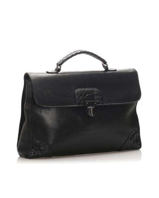 Bottega Veneta Bottega Veneta Intrecciato Leather Briefcase Black