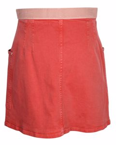 Red High-waist Denim Mini Skirt With Zip