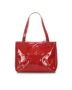 Chanel Triple Coco Patent Leather Tote Bag Red