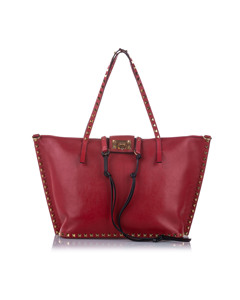 Valentino Rockstud Leather Satchel Red
