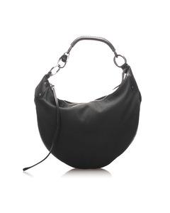 Gucci Half Moon Canvas Shoulder Bag Black