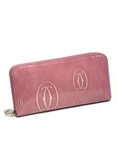 Cartier Happy Birthday Patent Leather Long Wallet Pink