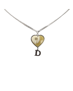 Dior D Logo Heart Shell Necklace Silver