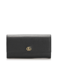Gucci Gg Marmont Continental Leather Long Wallet Black