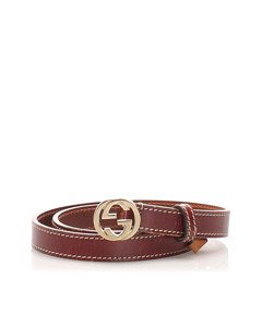 Gucci Gg Leather Belt Brown