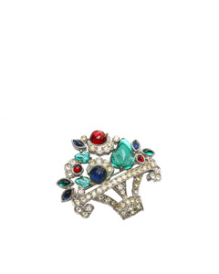 Givenchy Rhinestone Brooch Green