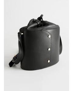 Small Leather Bucket Bag Black