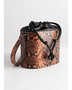 Small Leather Bucket Bag Orange Snake