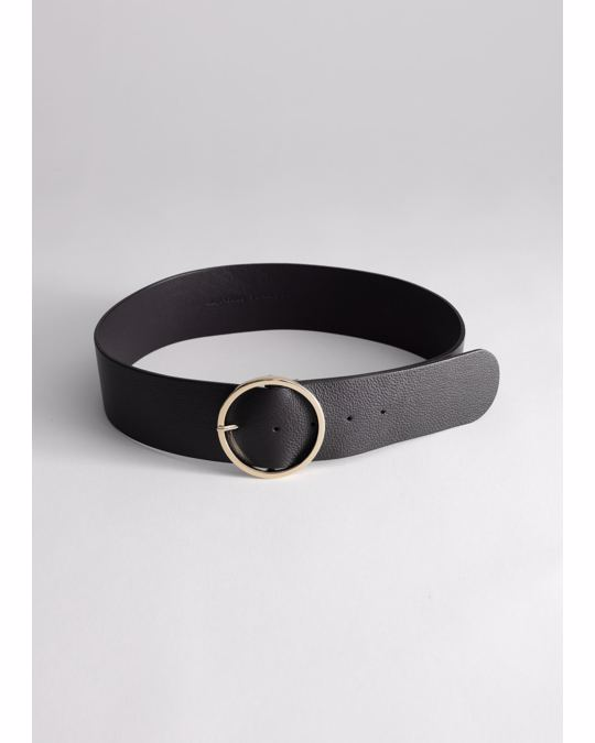 & Other Stories Circle Buckle Leather Belt Black