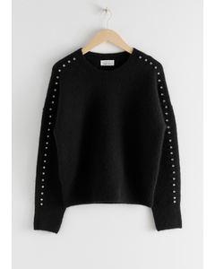 Rhinestone Embellished Sweater Black