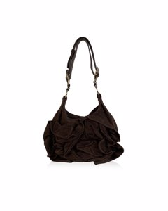 Yves Saint Laurent Brown Suede Nadja Rose Tote Shoulder Bag