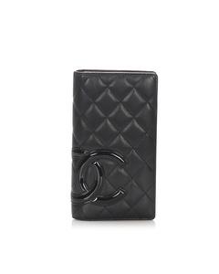 Chanel Cambon Ligne Lambskin Leather Long Wallet Black