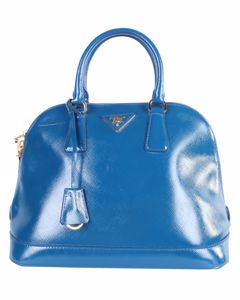 Promenade Blue Saffiano Leather Bag