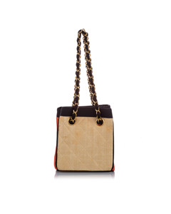 Chanel Classic Canvas Shoulder Bag Brown