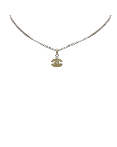 Chanel Cc Pendant Necklace Silver