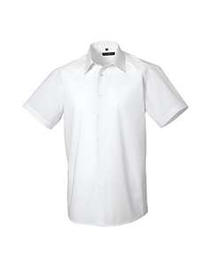 Russell Collection Mens Short Sleeve Poly-cotton Easy Care Tailored Poplin Shirt