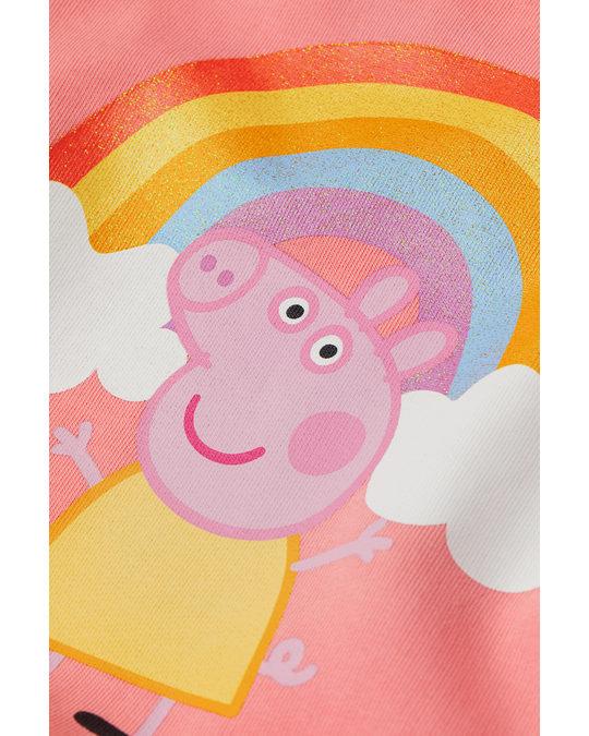 H&M Sweatkleid mit Druck Rosa/Peppa Wutz
