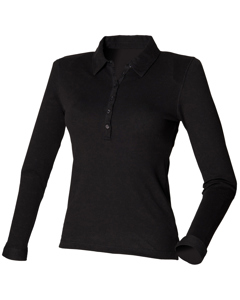 Skinni Fit Ladies/womens Long Sleeve Stretch Polo Shirt